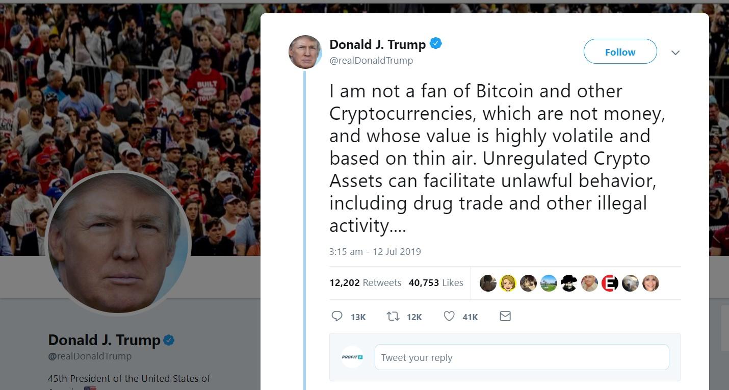 realdonaldtrump and BTC Bitcoin